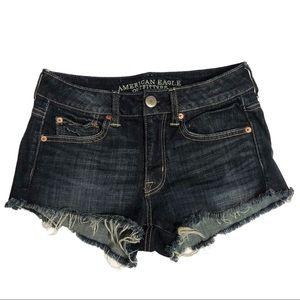 American Eagle dark wash jean shorts (4)